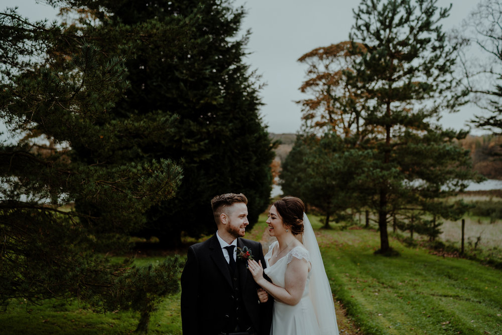 bride and groom  wedding at lissanoure castle