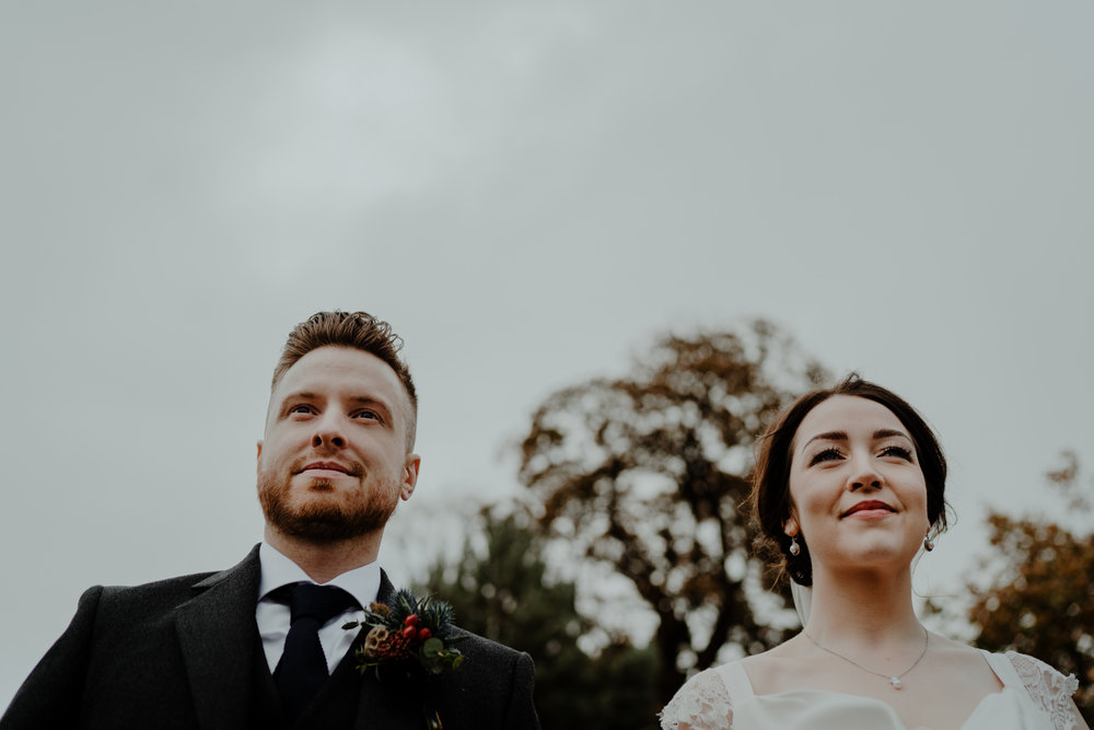 bride and groom portraits  wedding at lissanoure castle