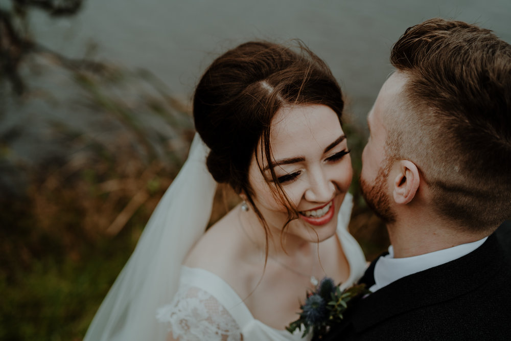 laughing bride and groom  wedding at lissanoure castle