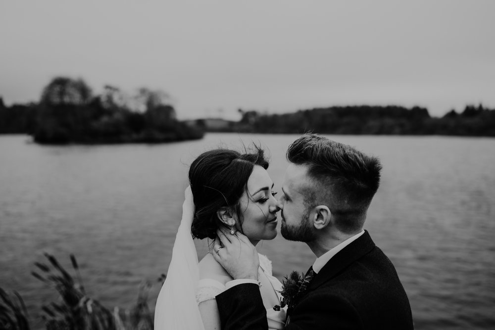 kissing  bride and groom wedding at lissanoure castle