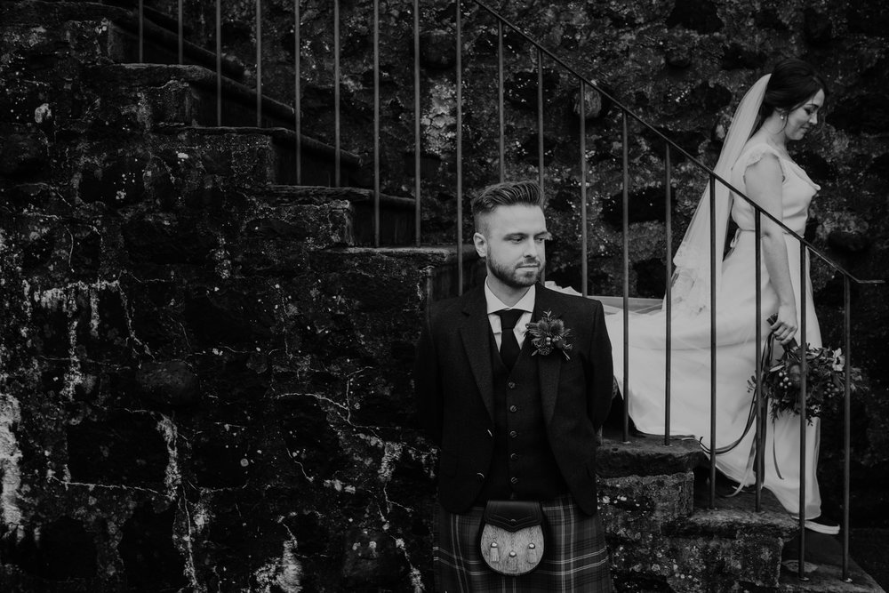 bride and groom couple portraits  wedding at lissanoure castle