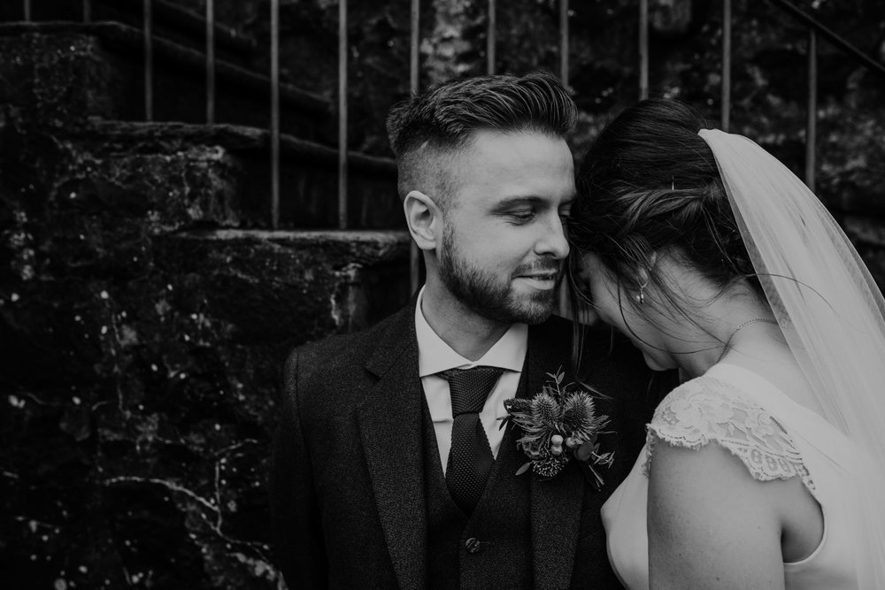 bride and groom cute moment  wedding at lissanoure castle