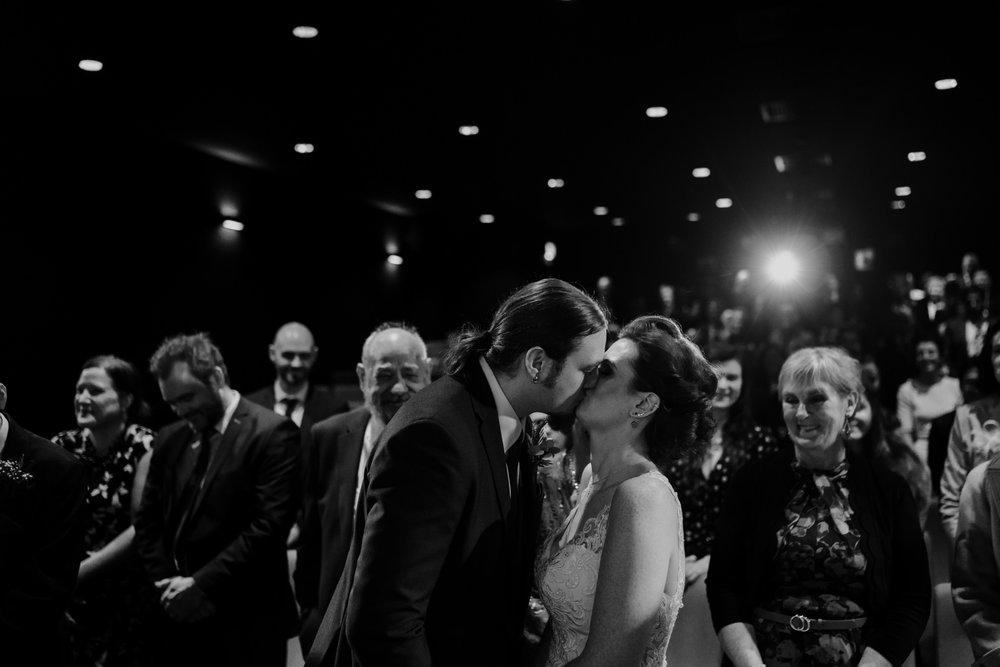 qft belfast wedding first kiss