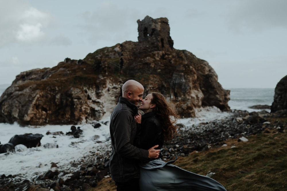 adventure travel ireland castle north coast kissing couple