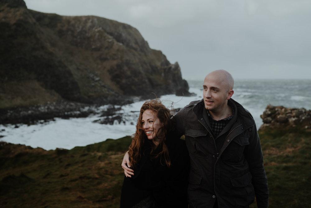 happy couple kinbane castle adventure photographers northern ireland