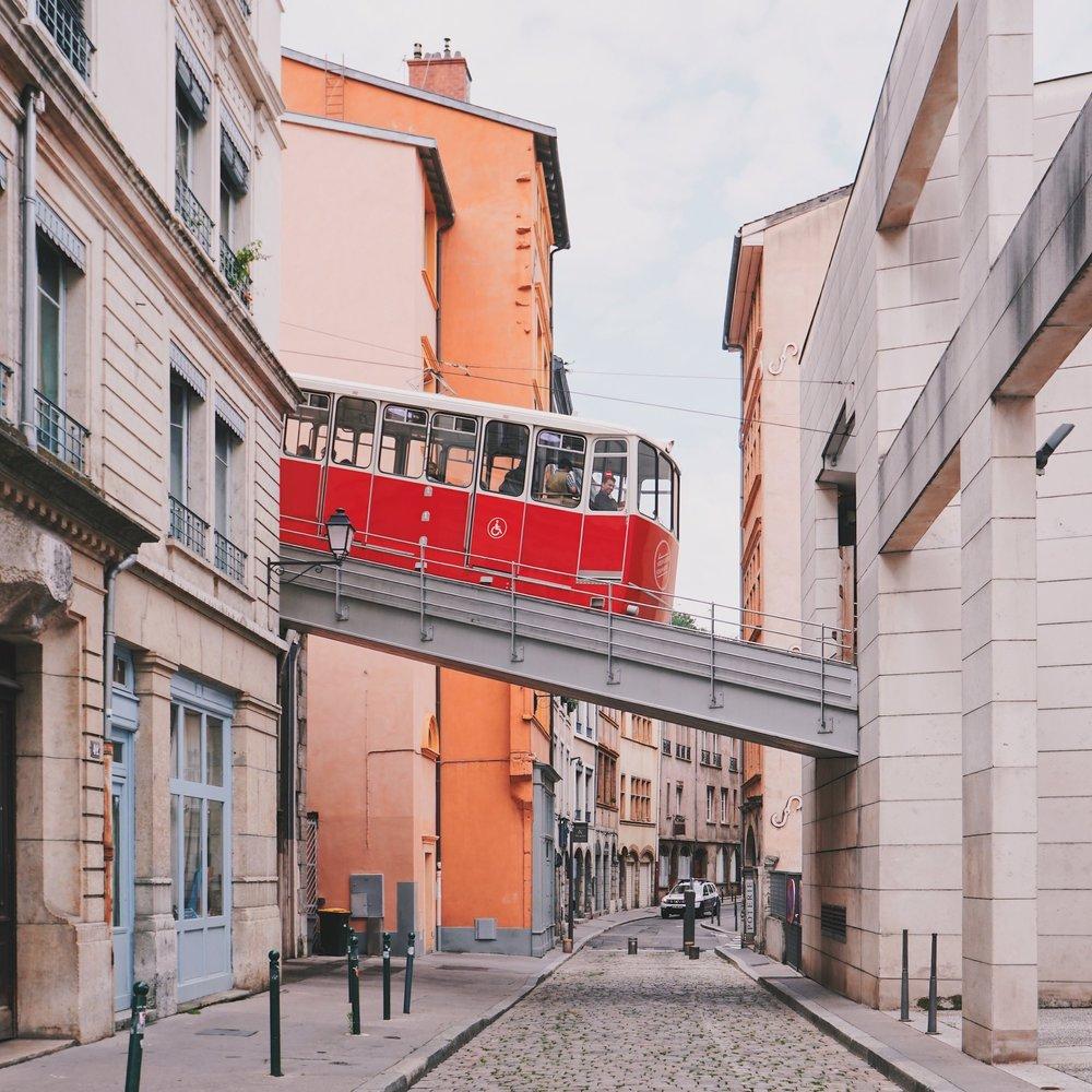 Funiculaire up to La Basilique Notre Dame de Fourvière and Le Vieux Lyon