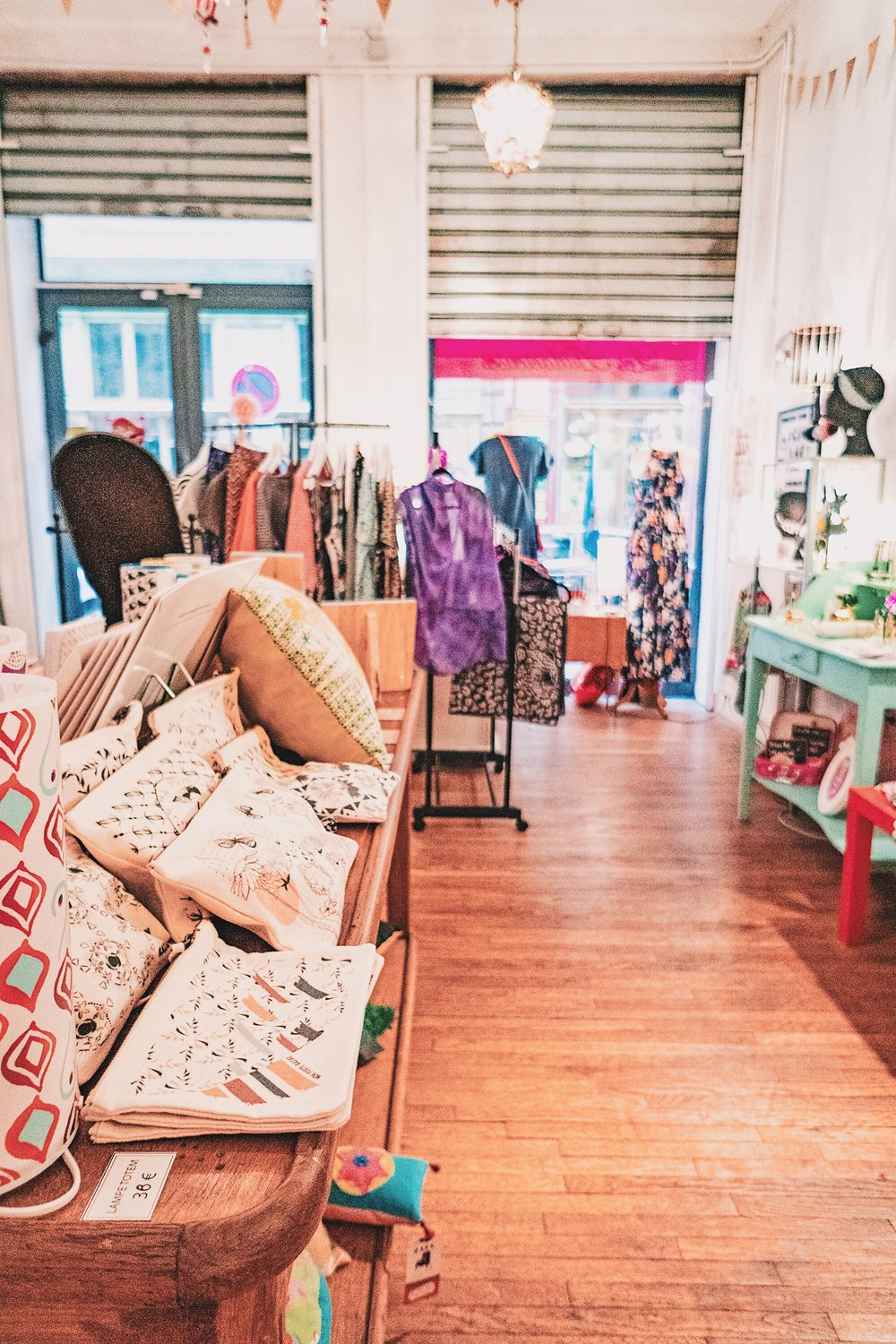 """All stockists in this shop are french artists and designers. They carry beautiful airy ruffly """"knickers"""" in colorful prints and patterns. Really regret not getting a pair!"""