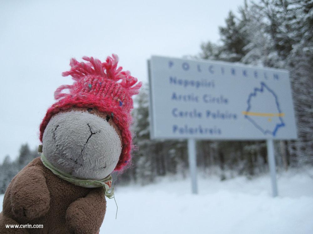 Pouky a trouvé super impressionnant de passer le cercle polaire!