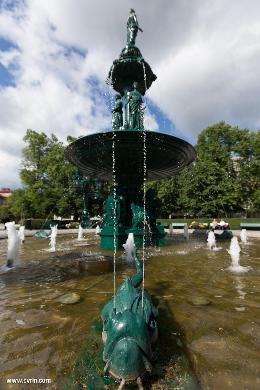 Fontaine dans un parc de la ville de Sundsvall