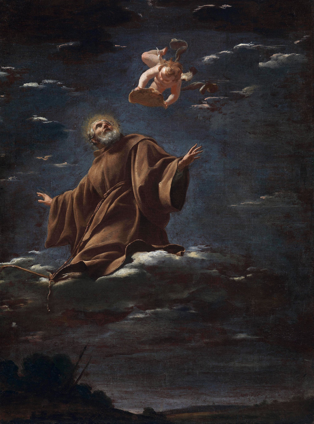 SIMON VOUET  Paris, 1590 - 1649         Apotheosis of Saint Francis of Paola   Circa 1625-1626        Oil on canvas  65 x 48 cm.        Sold to a private collection, Europe