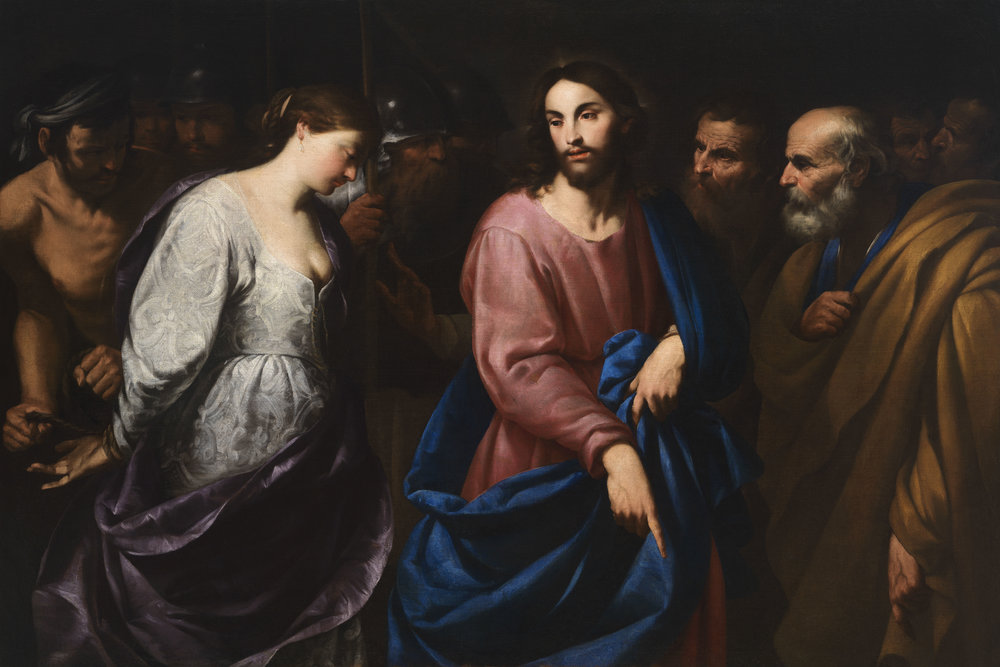 ANDREA VACCARO  Naples, 1604 - 1670         Christ and the Adulteress   Circa 1630        Oil on canvas  124 x 179 cm.        Sold to the Finnish National Gallery, Helsinki