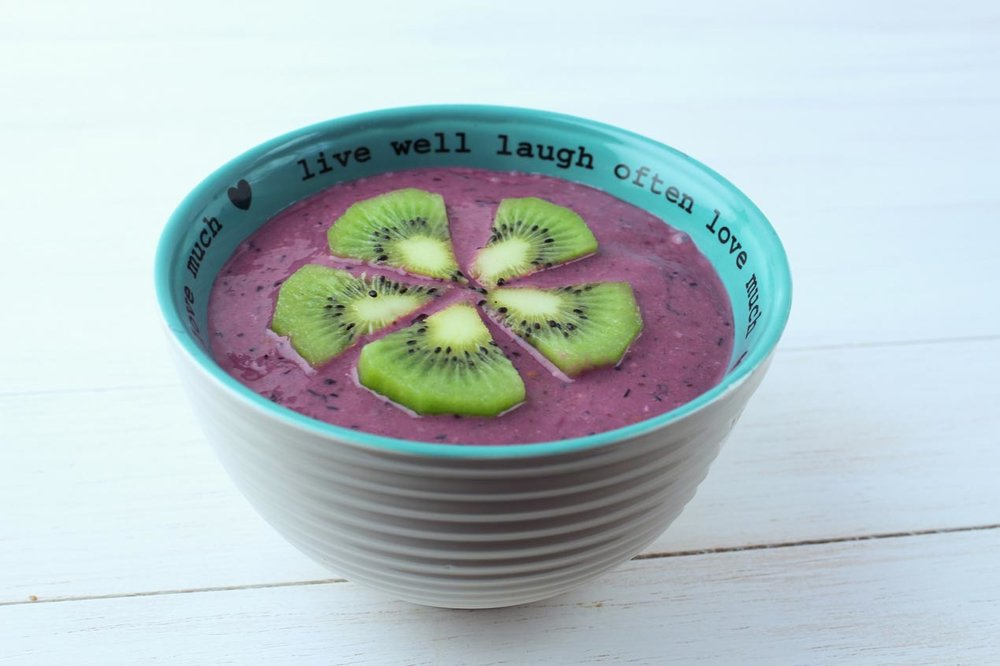 Flax Oat Berry Purple Smoothie Bowl