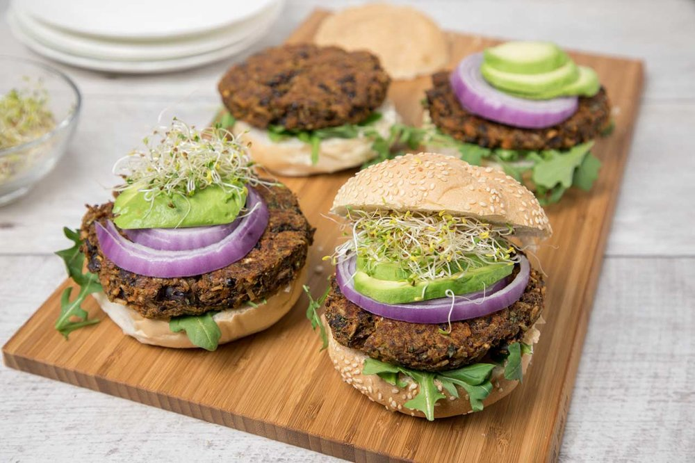Sweet Potato Black Bean Flax Burger