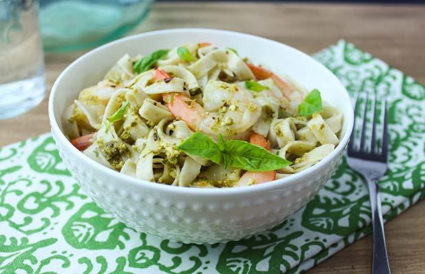 Source: Creamy Shrimp Pesto with Flax Pasta, Emily Richards
