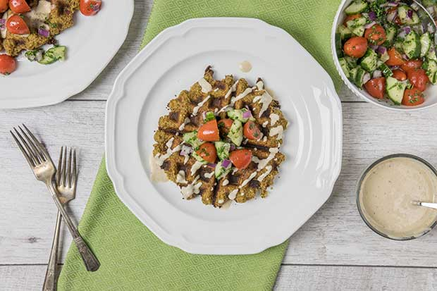 Source: Falafel Flax Waffles with Maple Tahini Sauce, Renee Kohlman