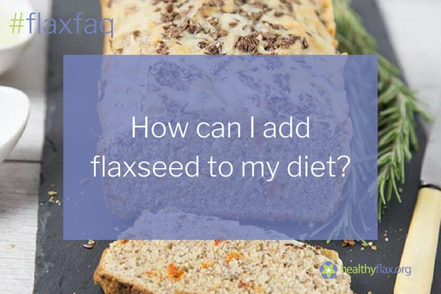 Answer - Flaxseed is added to many products on today's grocery shelves because of the omega-3 fats, lignans, and fibre found in the seed, all of which help deliver a unique and nutritious health boost that aids in overall wellness. Here are some ways to use flax:Whole flaxseed. Whole flaxseed adds colour and crunch to foods. You can sprinkle flaxseeds on top of home baking or mix them into dough. However, to obtain maximal benefits from flaxseed, you should grind them first because whole seeds will pass through your body undigested.Milled (ground) flaxseed. Grinding whole seeds breaks their tough outer shell, creating a light coloured powder. Milled flaxseed is available for purchase, or you can make your own in a coffee grinder, blender, or food processor. Making your own has the added benefit of maximizing freshness. Milled flaxseed can be sprinkled on cereal, or add it to doughs, batters, casseroles, and other cooked foods. Mix some into your salad dressing or in your fruit and cottage cheese for a crunchy flaxseed punch. Stir it into thicker soups such as lentil or bean varieties or into pasta sauces just before serving. Another option is to use it in burgers, meatloaf, and fish or vegetable patties as a healthy filler.Flaxseed oil. Flaxseed oil is sold in bottles. The oil is extracted from whole flaxseeds using a cold-press process especially developed for plant oils. Pour flax oil on fresh salads. The amount of omega-3 alpha-linolenic acid is higher in purified flaxseed oil than whole flaxseed, but the oil does not contain the beneficial fibre or lignans.Gel capsules. Flaxseed oil is sealed in gel capsules and sold as a dietary supplement. Please follow the manufacturers' recommended dosages.Omega-3-enriched eggs. These eggs contain extra omega-3 fatty acids from flaxseed fed to laying hens. You can use omega-3 eggs wherever you would use regular eggs – there's no taste or functionality difference, only nutritional enrichment. Omega-3-enriched foods. These foods, such as yogurt and milk, may contain flaxseed oil, while baked goods, such as breads, can include milled or whole flaxseed.Check out our healthy recipes for more ideas!