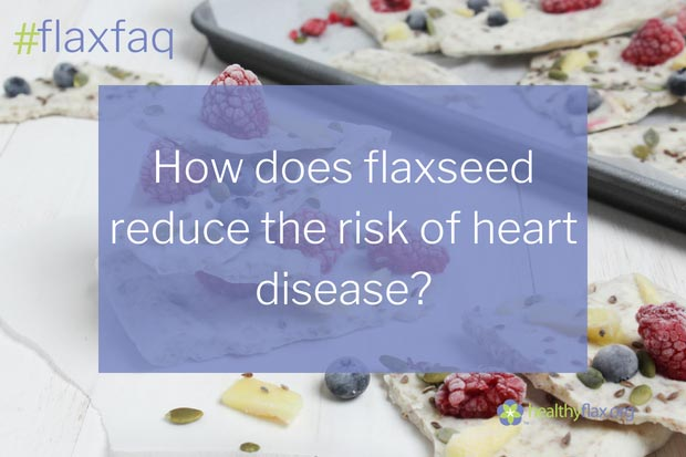 """Answer - The ALA, lignans and fibre components in flaxseed promote heart health. Dietary intake of ALA is associated with lower risk of having a heart attack or stroke, helps to maintain a stable heartbeat, and reduces the formation of dangerous blood clots. Lignans act as antioxidants to protect against the development of heart disease and improve blood pressure. The dietary fibre in flaxseed helps to decrease the risk of heart disease by reducing total cholesterol and LDL """"bad"""" cholesterol."""