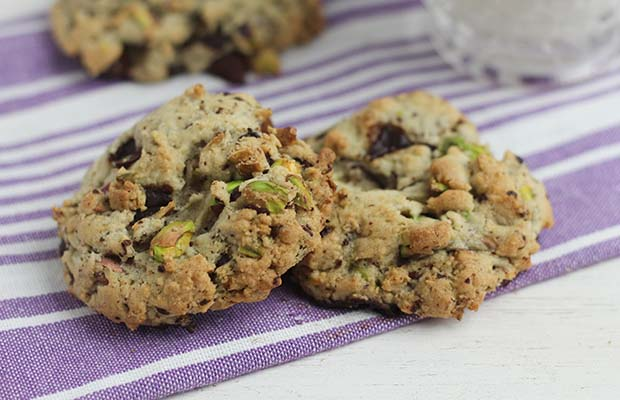 Source: Salted Pistachio and Chocolate Chunk Cookies, Nancy Hughes