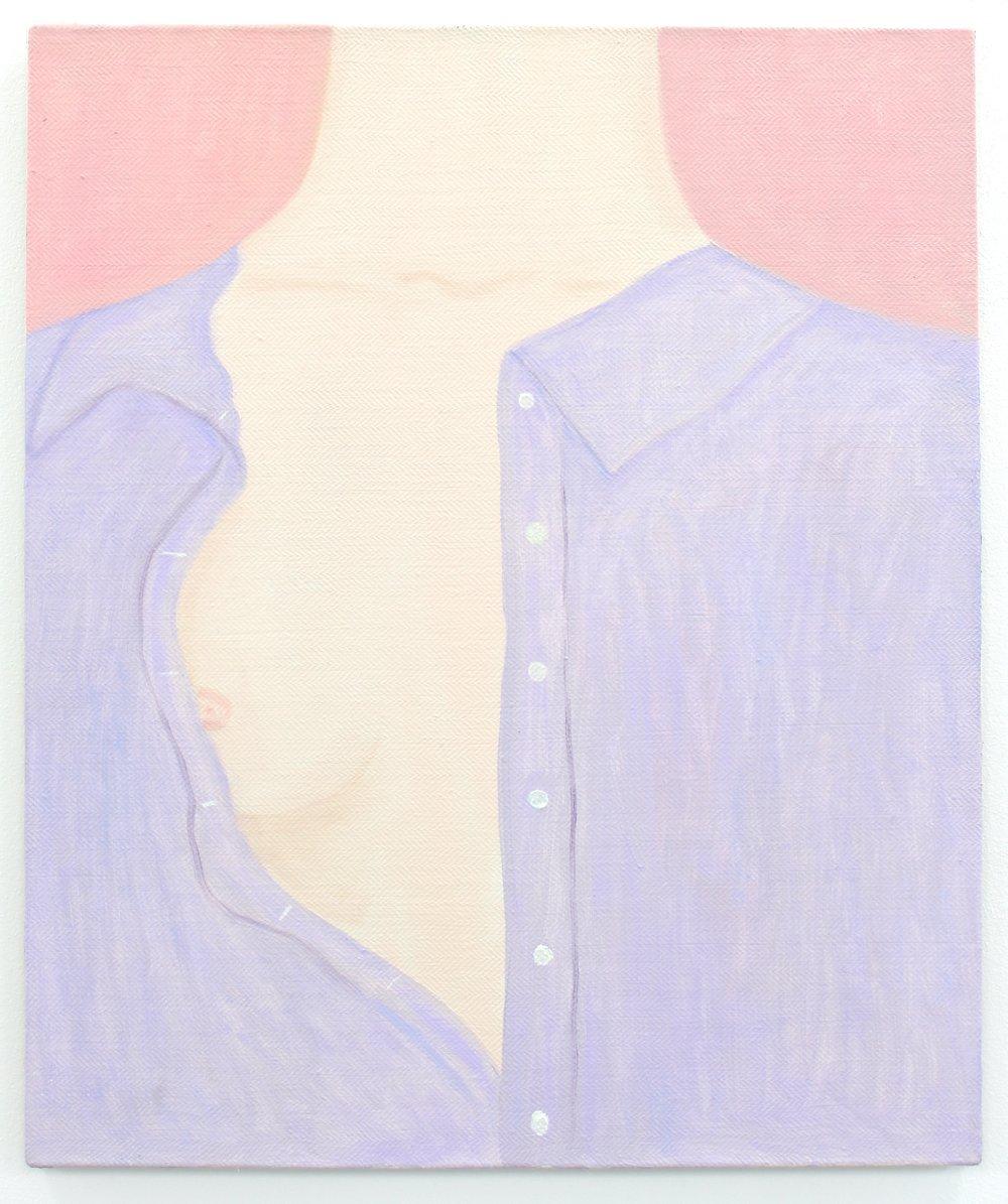 With a pink eye open , oil on herringbone linen, 61 x 51 cm, 2018