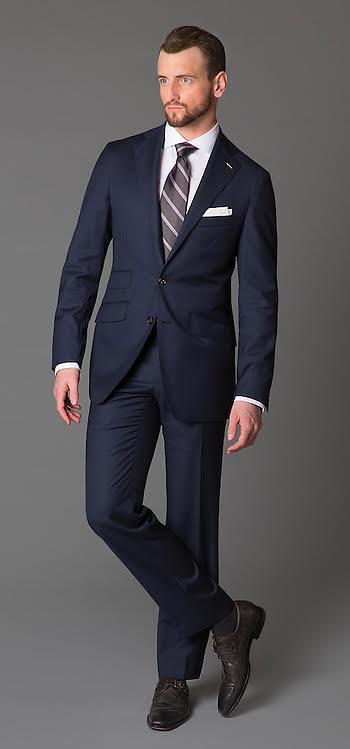 A simple blue suit for cocktail attire. Credit:  Oren A Photo