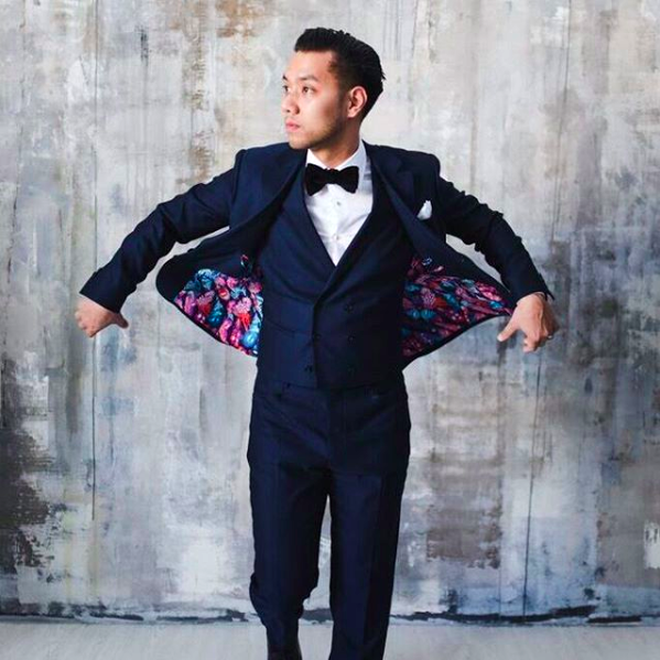 Step up your cocktail game by adding a vest. Wearing a bow tie with the suit adds a little playfulness that's perfect for cocktail attire. Outfit by  Surmesur .