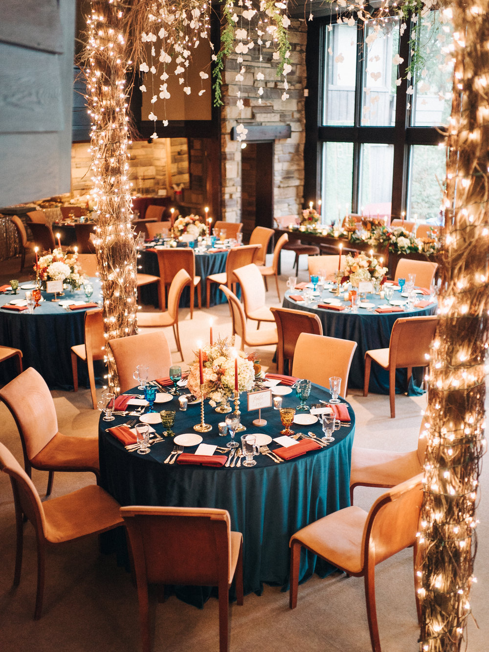 String lights can be used to transform or complement the overall ambiance, indoor or out! Credit:  Sean Cook Weddings