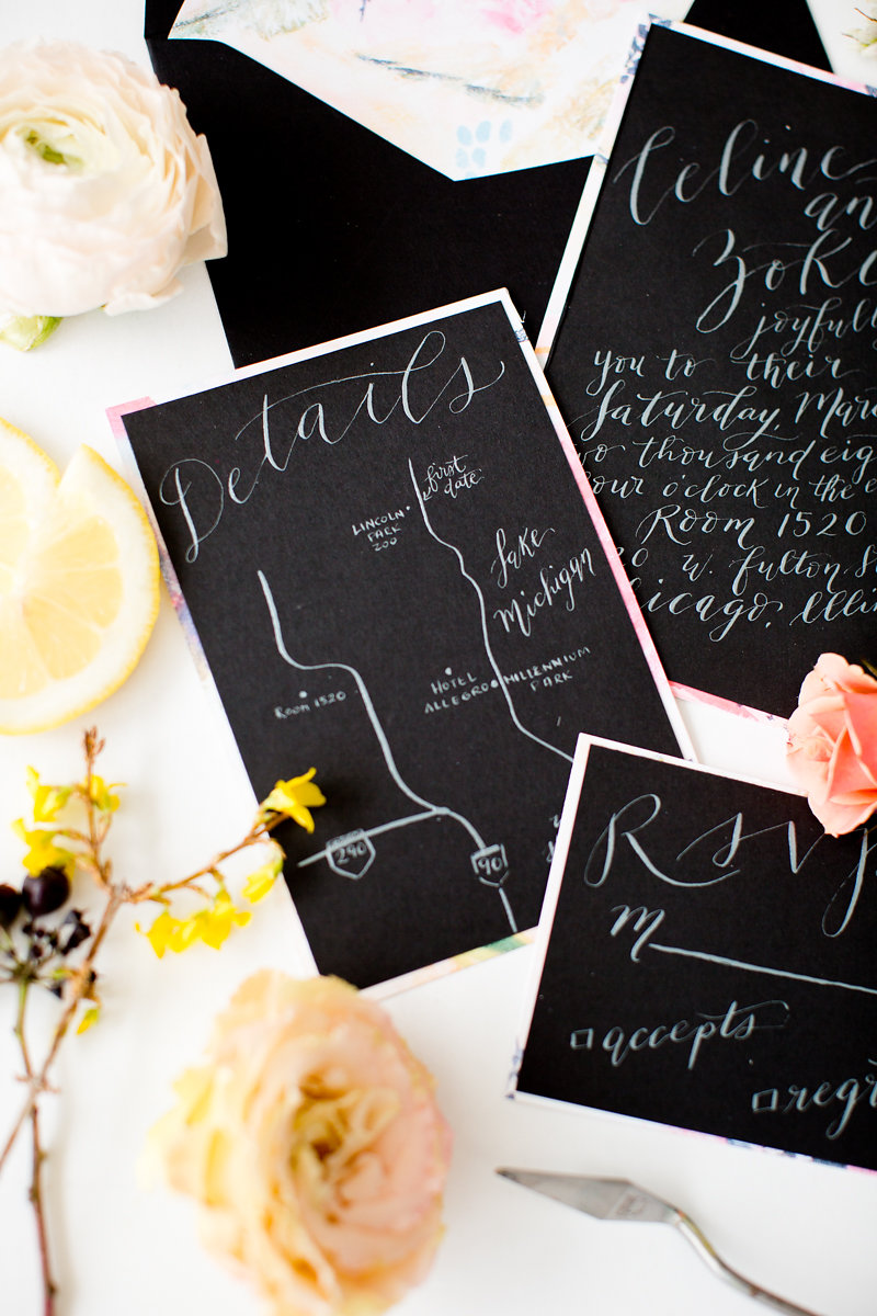 Black and White Wedding Invitations Chicago Wedding Alexandra Lee Photography