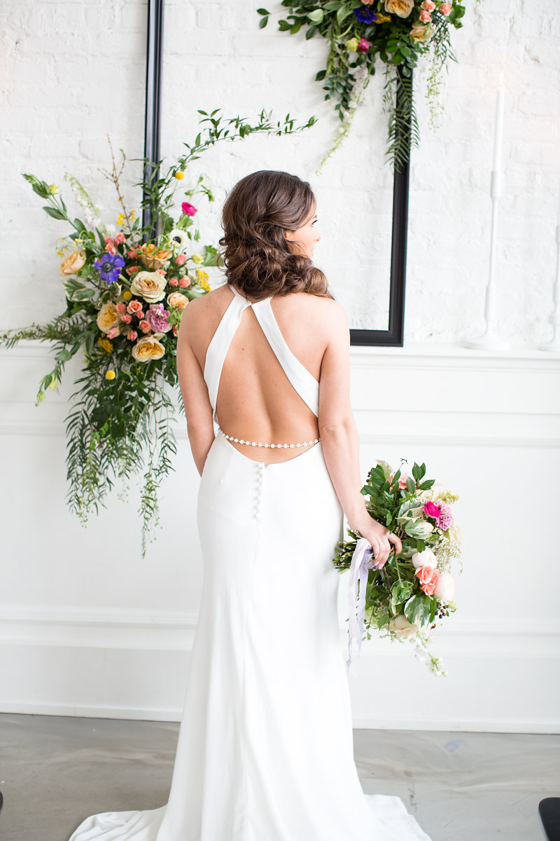 Open Back Wedding Gown Chicago Wedding Alexandra Lee Photography