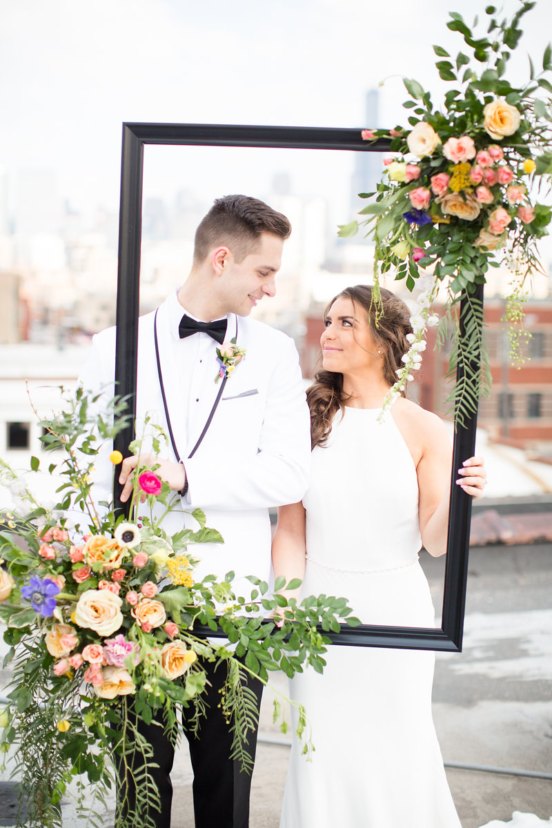 Floral Picture Frame Bride and Groom Chicago Wedding Alexandra Lee Photography