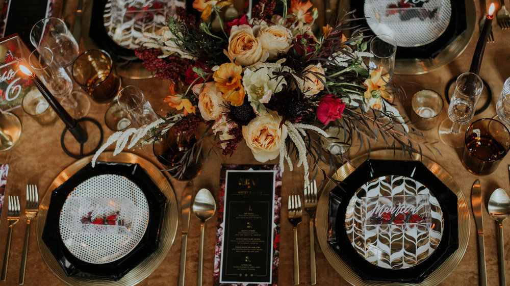 Gold Table Settings Chicago Wedding Allie Appel Photography