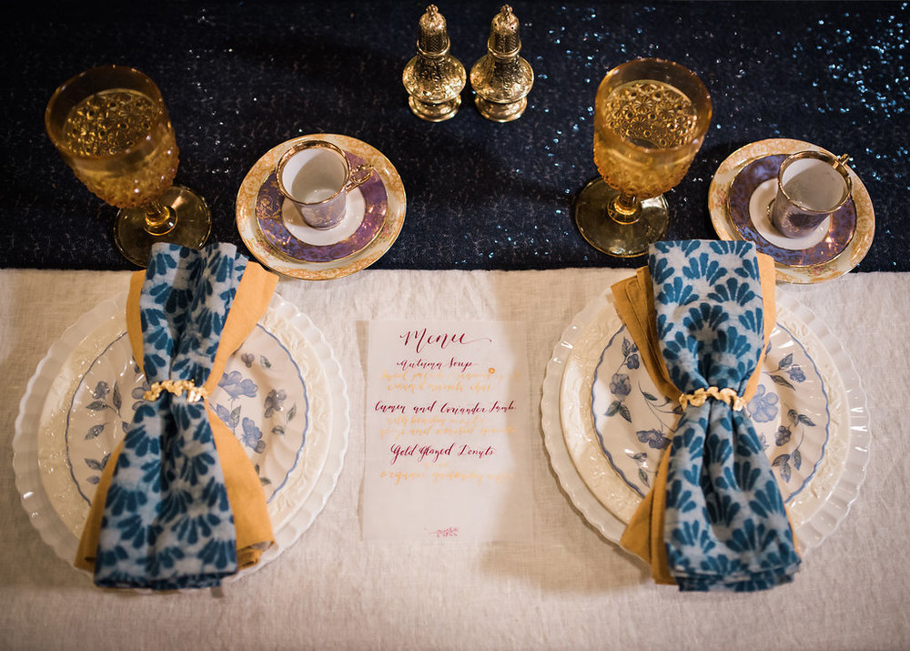 Blue Table Settings Chicago Wedding Inspired Eye Photography
