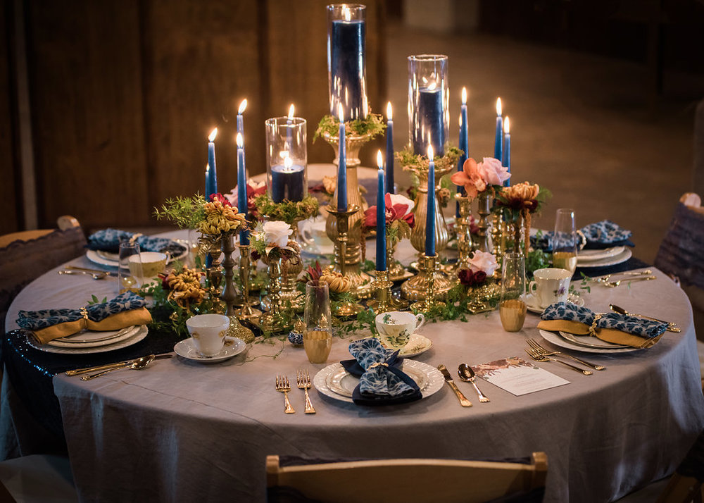Blue Candle Centerpieces Chicago Wedding Inspired Eye Photography