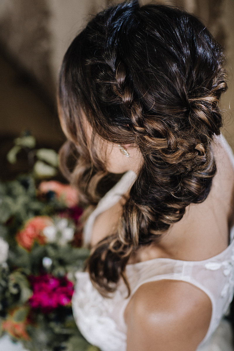Bridal Boho Braid Hairstyle Chicago Wedding lisa kathan photography