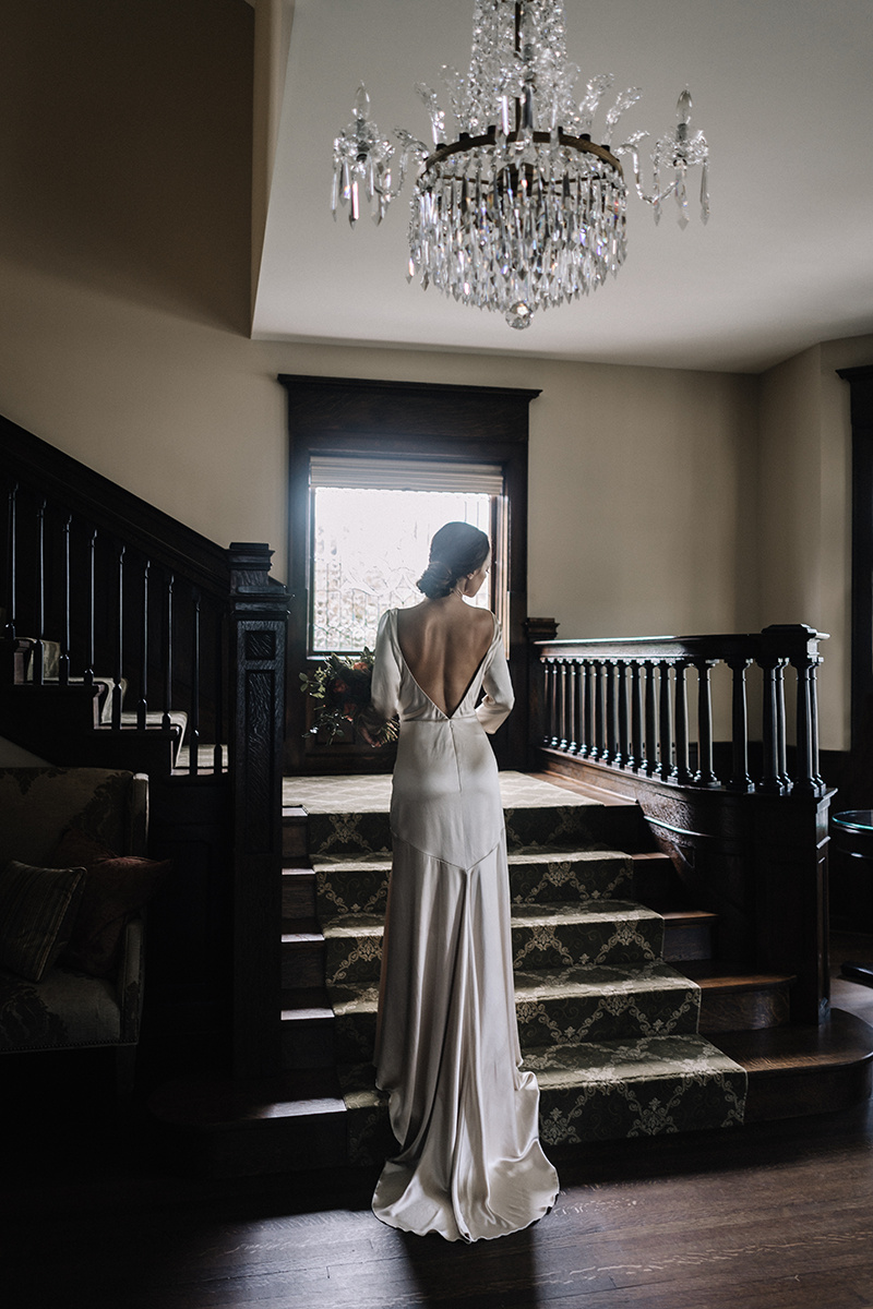 Low Back Formfitting Wedding Gown Chicago Wedding lisa kathan photography