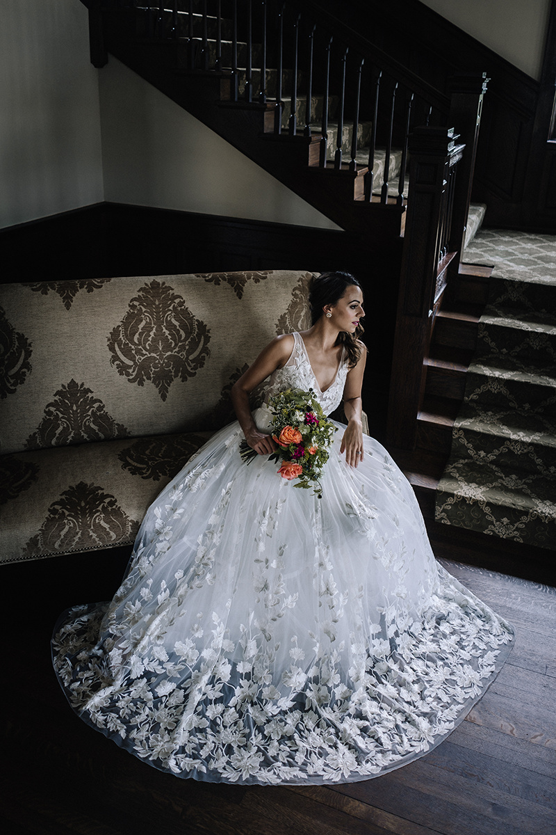 A Line Floral Wedding Gown Chicago Wedding lisa kathan photography