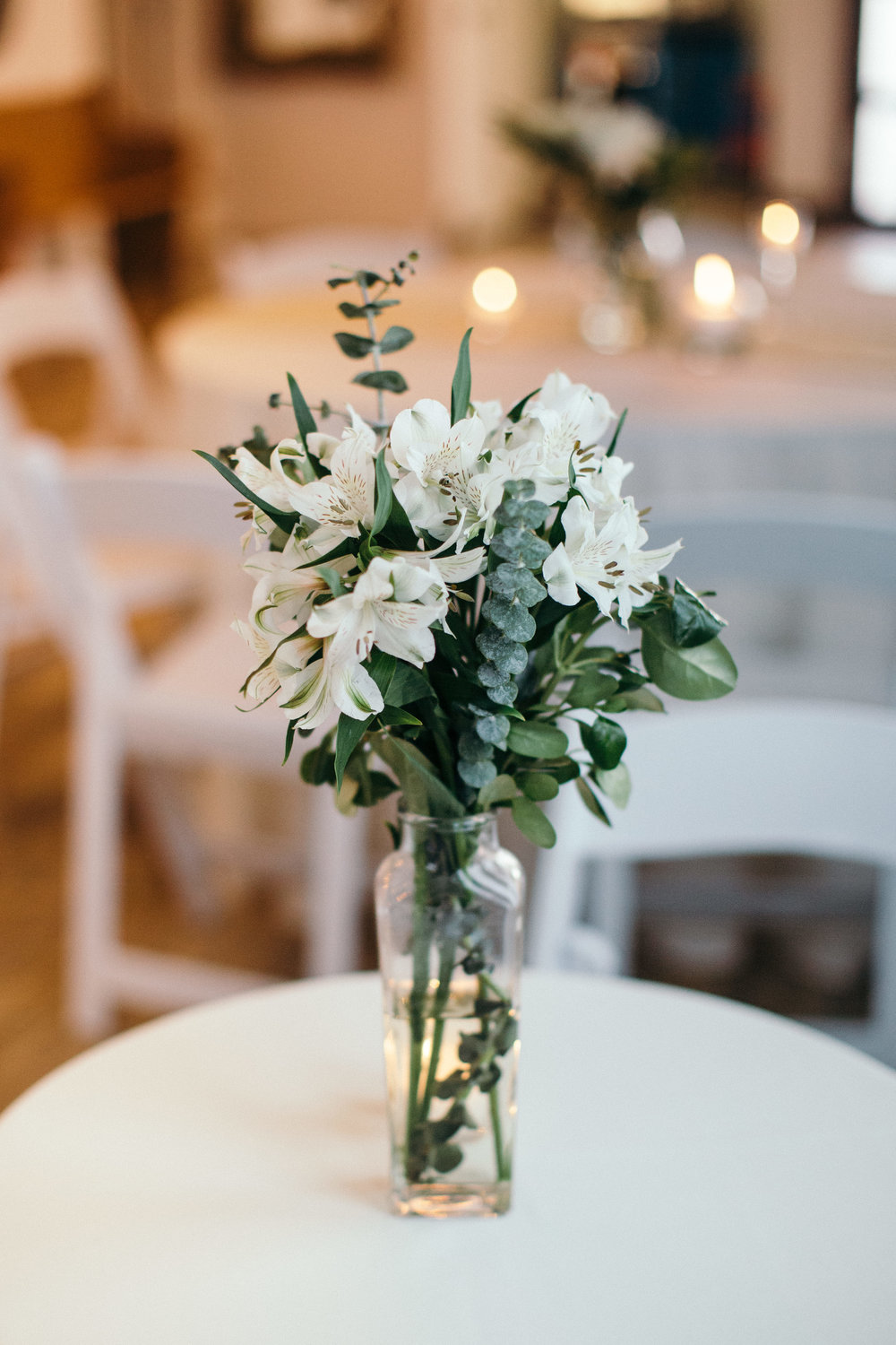 Greenery and White Floral Centerpieces Chicago Wedding Dorey Kronick