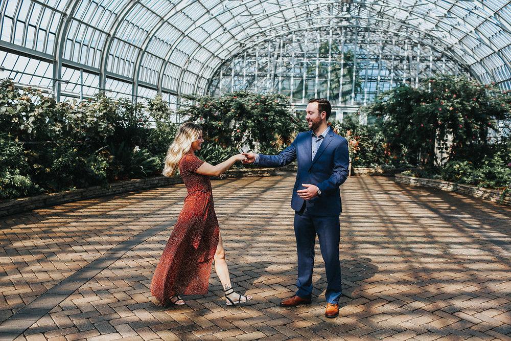 Couple Engagement Photoshoot Garfield Park Conservatory Chicago Wedding Meg Adamik Creative