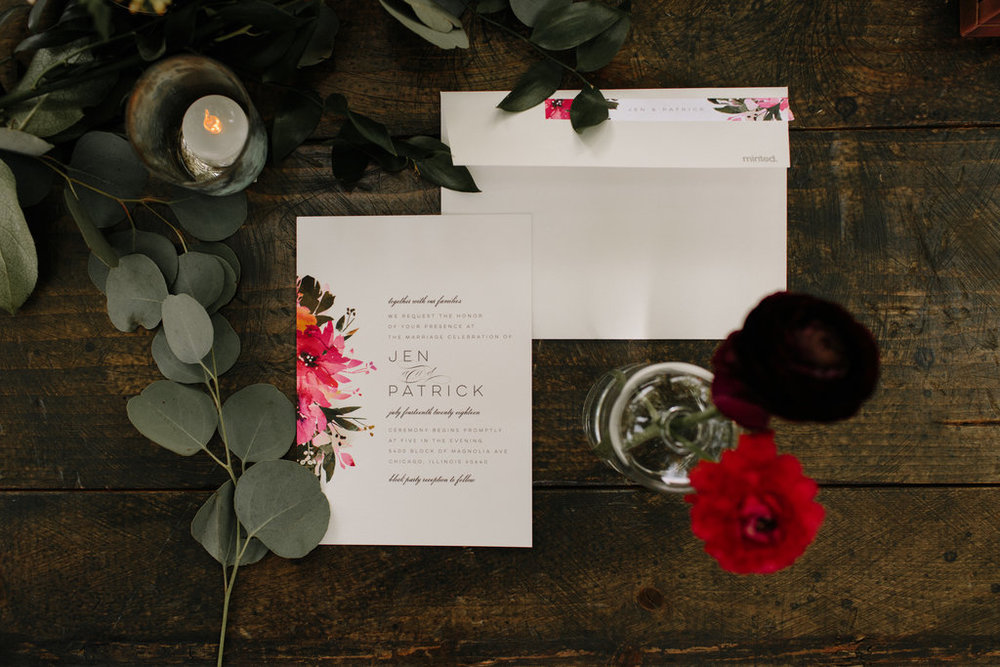 Floral Wedding Invitations Chicago Wedding Erika Mattingly Photography