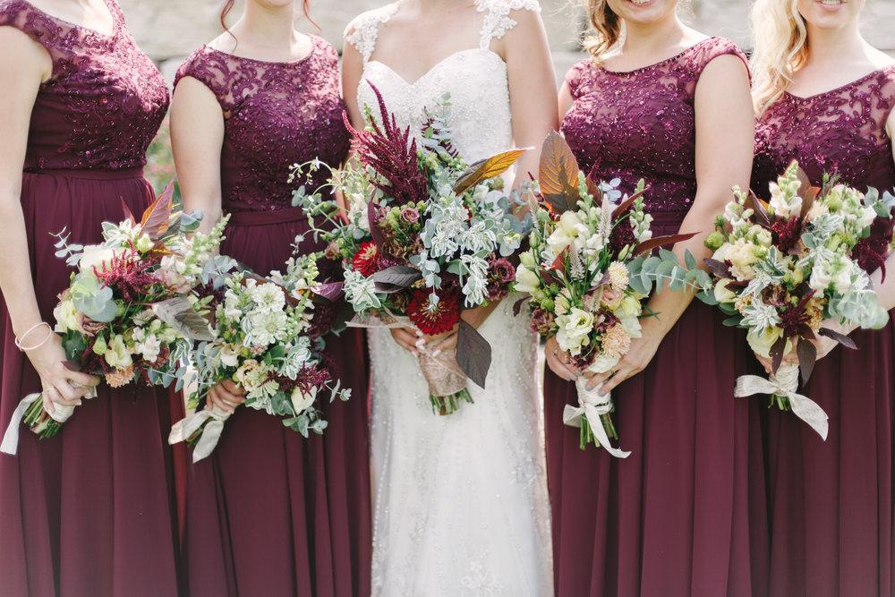 Maroon Sequin Bridesmaid Dresses Chicago Wedding Grey Garden Creative