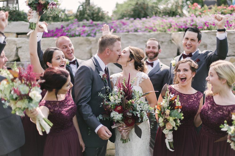 Maroon Bridesmaid Dresses and Gray Groomsmen Tuxedos Chicago Wedding Grey Garden Creative