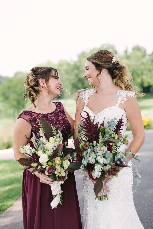 Maroon and Sequin Bridesmaid Gown Chicago Wedding Grey Garden Creative