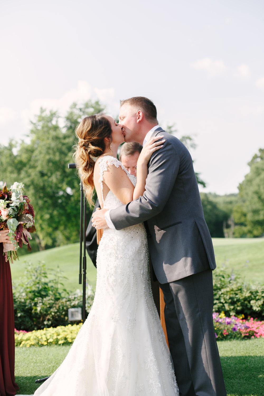 Bride and Groom First Kiss Chicago Wedding Grey Garden Creative