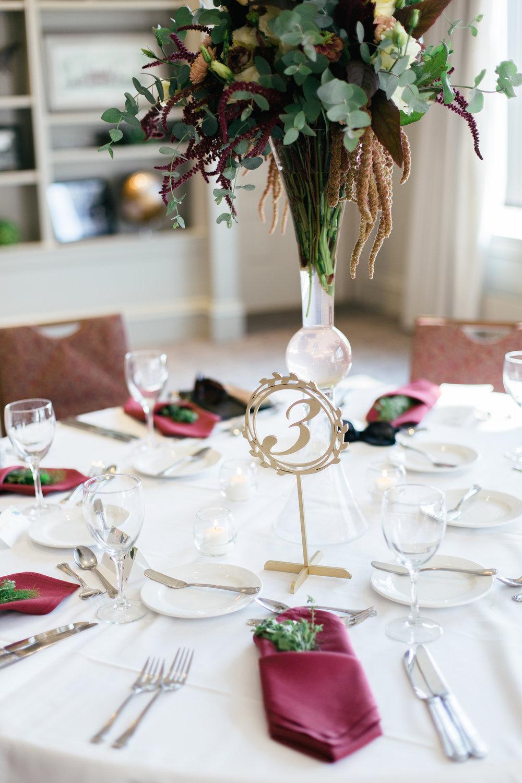 Maroon and Green Table Center Pieces Chicago Wedding Grey Garden Creative