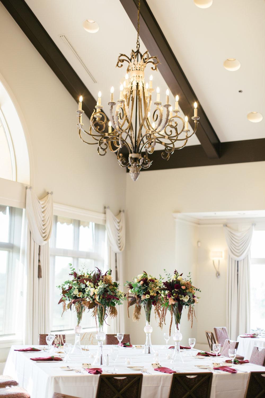 Glamorous Maroon and Green Table Center Pieces Chicago Wedding Grey Garden Creative