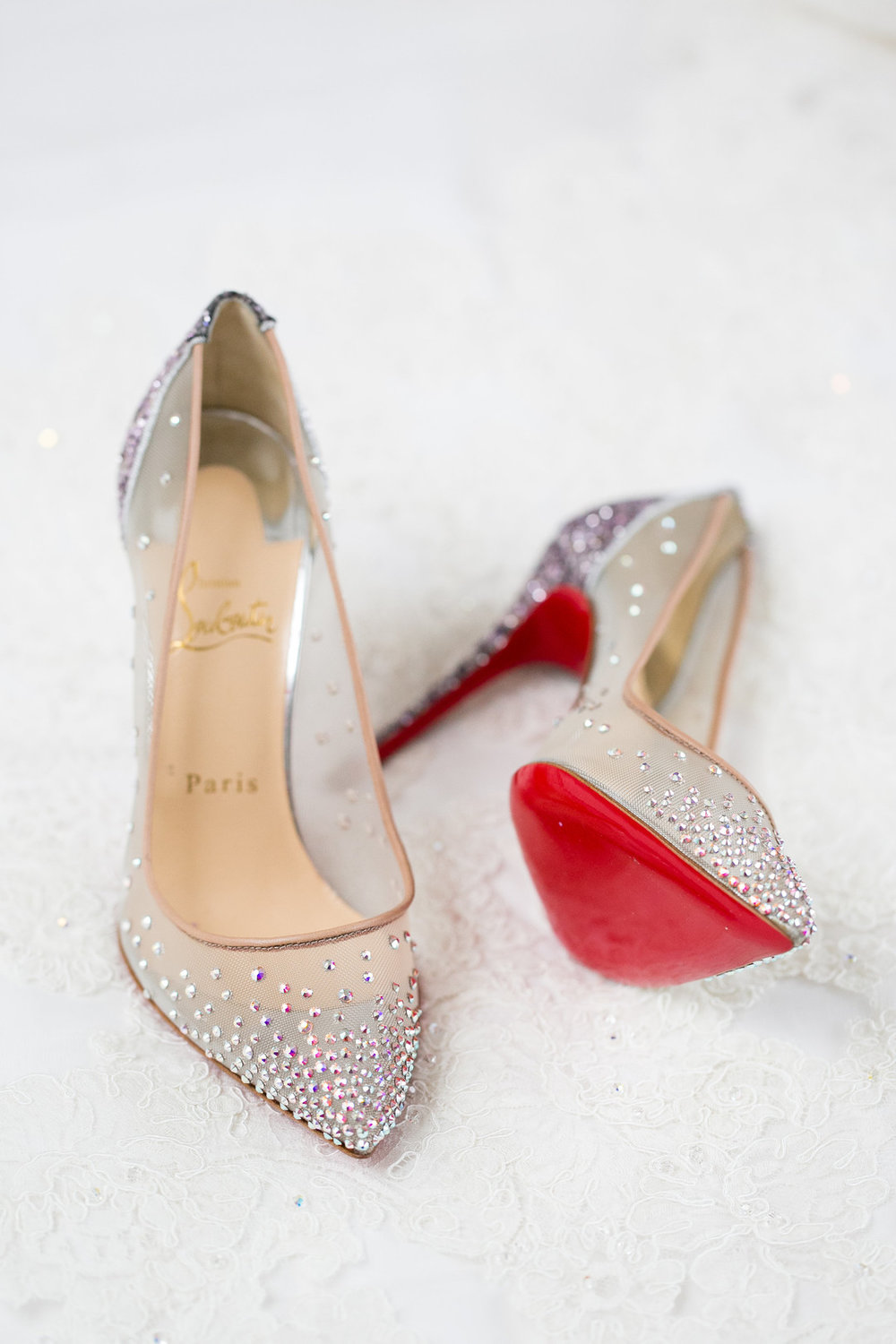Clear Sparkle and Red Bridal Heels Chicago Wedding Emilia Jane Photography