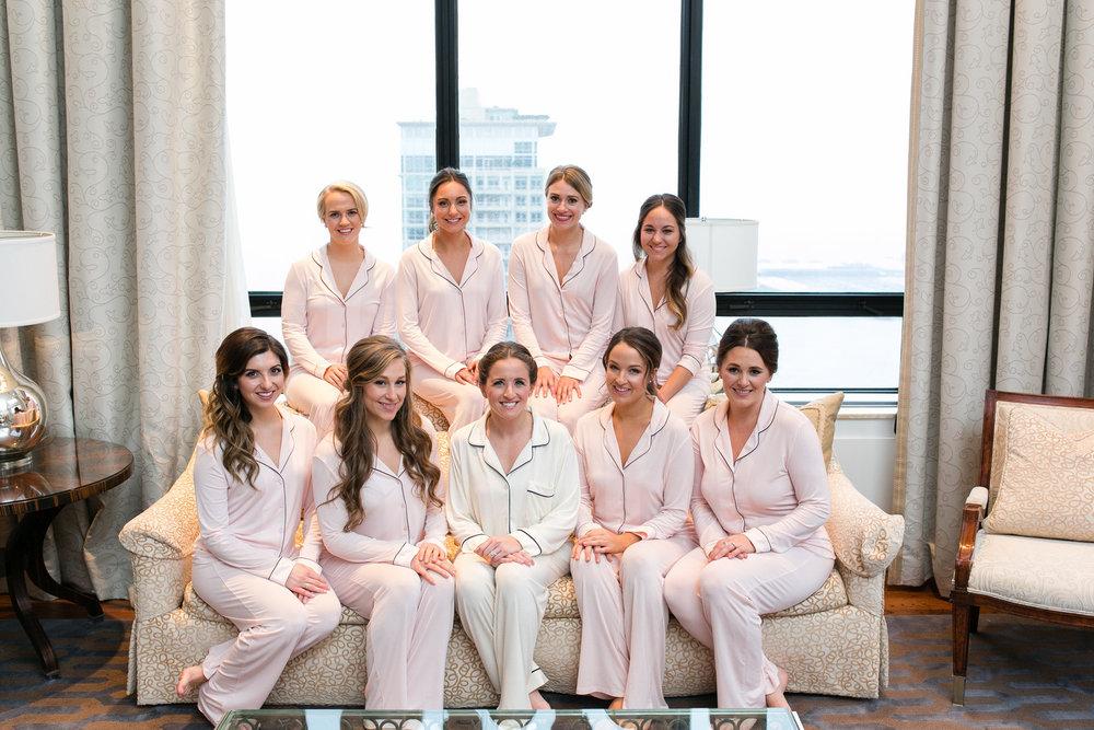 Pastel Pink Bridesmaid Pajama Sets Chicago Wedding Emilia Jane Photography