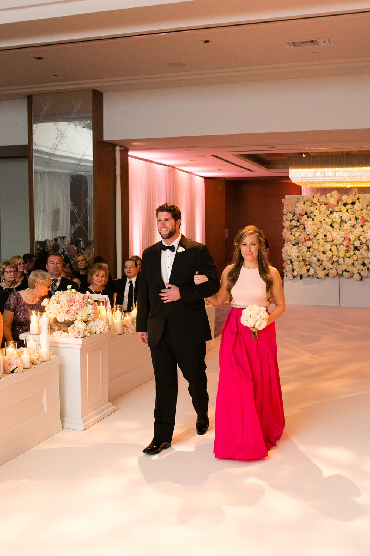 Two Piece Fuchsia Pink Bridesmaid Gown Chicago Wedding Emilia Jane Photography