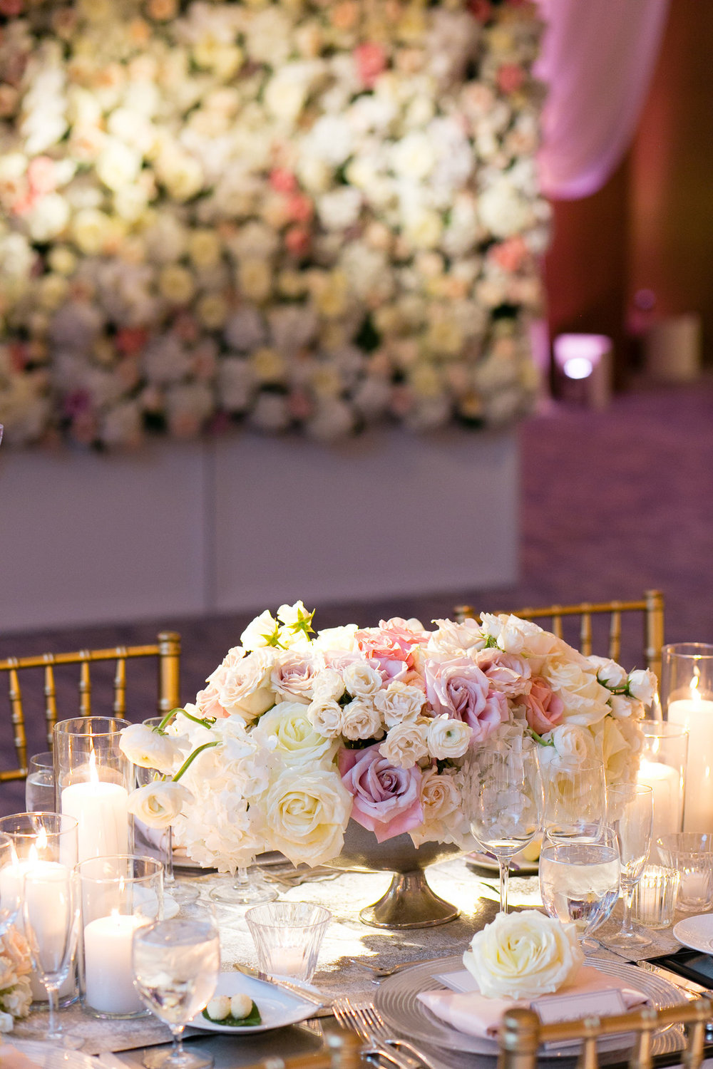 White and Pink Rose Center Pieces Chicago Wedding Emilia Jane Photography