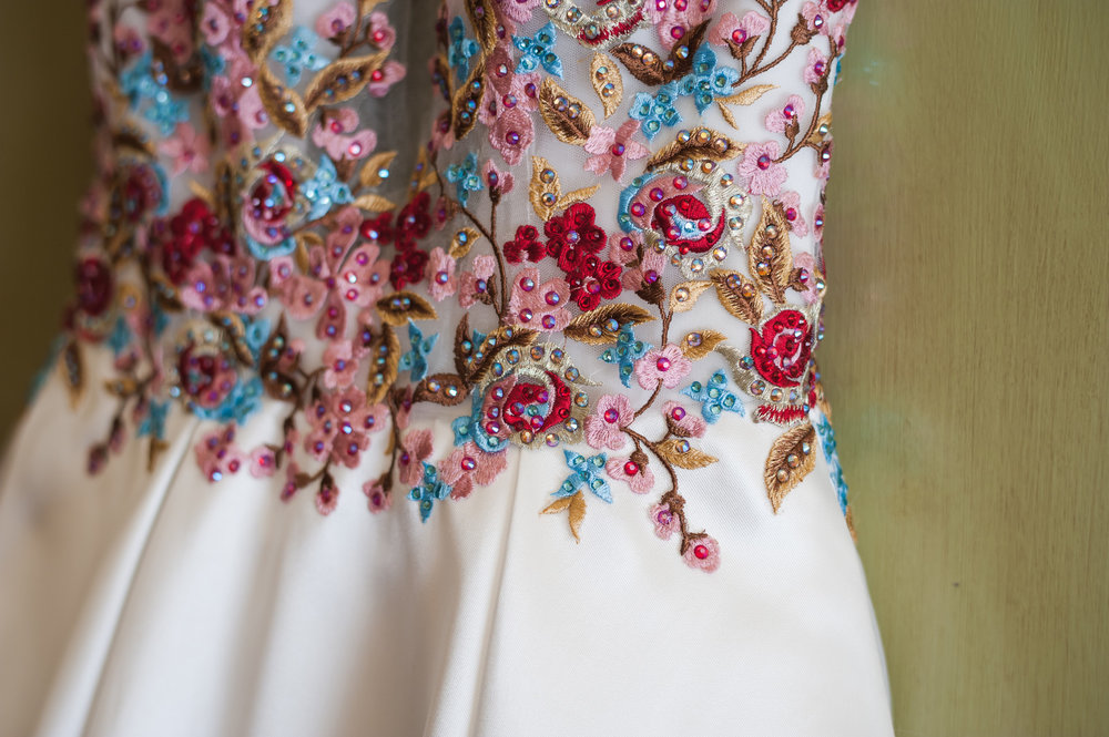 Colorful Floral Bridal Wedding Gown Chicago Wedding Elite Photography