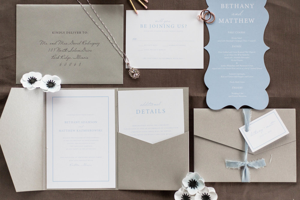 Blue and Gray Wedding Invitation Chicago Wedding Meghan McCarthy Photography